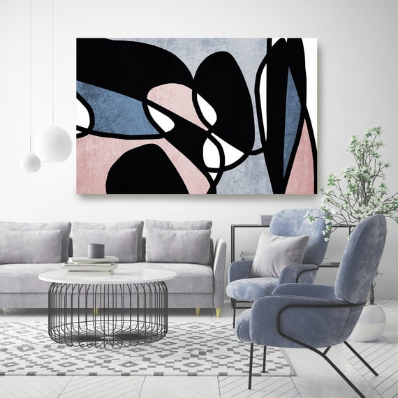 Pink Blue Black Minimalist Abstract. Abstract Paintings Art, Large Abstract Navy Blue Art Minimalist Painting, Minimalist Print Modern Decor