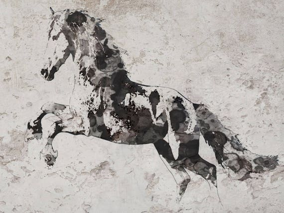 Running Wild Horse 3. Extra Large Horse, Horse Wall Decor, Brown Rustic Horse, Abstract Running Horse Canvas Art Print, Black White Horse