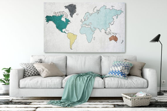Unique world map, Huge world map, Blue Rustic map, Industrial art, Cottage wall, Vintage Map, Map canvas art print, Blue Map, Map on canvas
