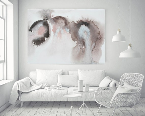 """Pink Blue Brown Grey Watercolor abstract splash 10.. Pink Brown Abstract Paintings Contemporary Canvas Art Print up to 72"""" by Irena Orlov"""