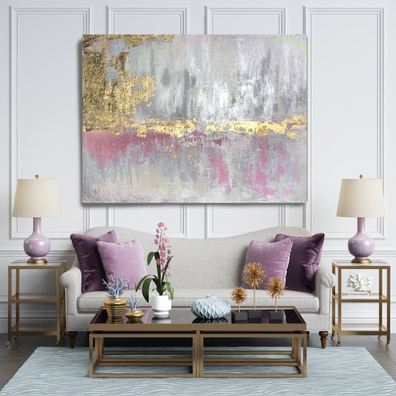Golden Pink Blue Abstract Painting Gold Pink Modern Art Abstract Painting Extra Large Gold Silver Painting Extra Large Abstract Canvas Print