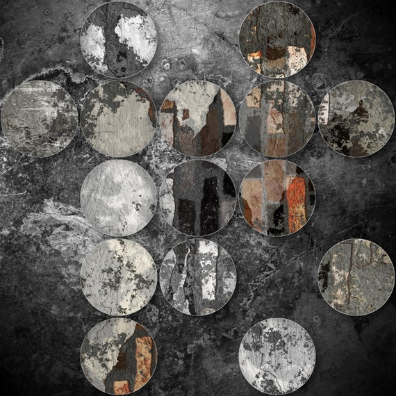 "Industrial Mixed Media Circles 808-296, Extra Large Abstract Canvas Art Print, Grey, Black Abstract Rustic Wall Art up to 48"" by Irena Orlov"