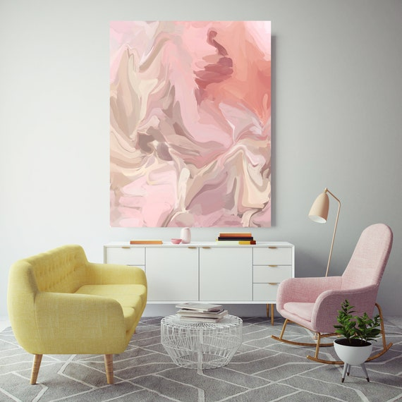 Aesthetic, Blush Pink Beige Pastel Colors Art, Abstract painting, Neutral colors painting, modern art, Canvas Art Print, Fluid painting