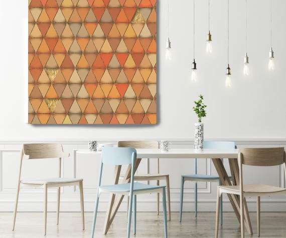 "Orange and Gold 2, Extra Large Industrial Geometrical Orange and Gold Canvas Art Print Wall Decor, Modern Wall Art up to 48"" by Irena Orlov"