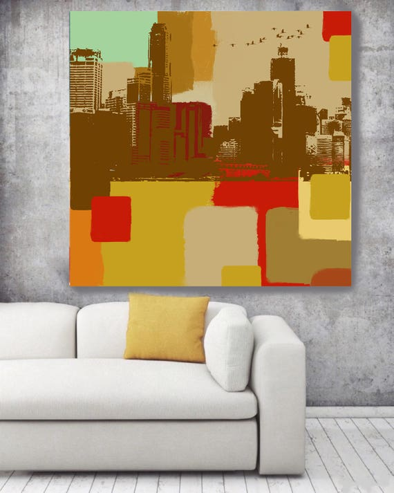 """Skyline Panorama Large Architectural Cityscape Canvas Art Print. Colorful Brown URBAN Canvas Art Print up to 48"""" by Irena Orlov"""