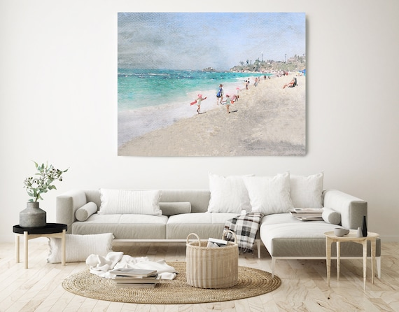 Oh summer. California Rustic Seascape Painting Canvas Art Print, Seascape Blue Canvas Art Print, Beach Art, Beach Painting, Coastal Artwork