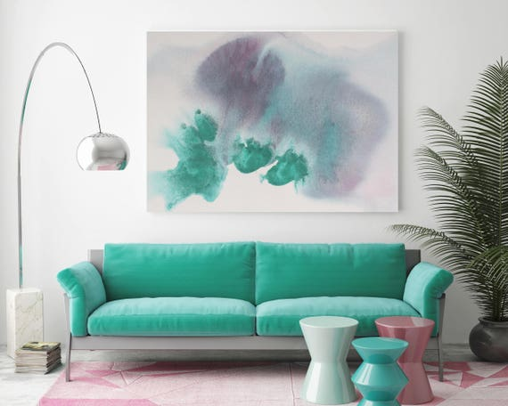 "Watercolor Coastal Abstract 15. Watercolor Abstract Purple Teal, Watercolor Painting Print Canvas Art Print up to 72"" by Irena Orlov"