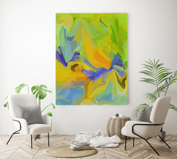 A recognizable movement  2 Colorful Abstract Painting Green Blue / Large Abstract Art / Abstract Art / Cheerful Abstract Art, Fluid painting