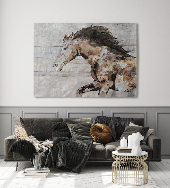 "Natural Rustic Horse Oil Painting on Canvas, Equestrian Art 72 W X 48"" H, Rolled Farmhouse Wall Art"
