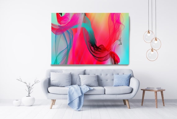 Contemporary Wall Art, Office Decoration, Vibrant Wall Art, Electric Canvas Print, Home Decor, New Media, Color in the Lines 04-29-94