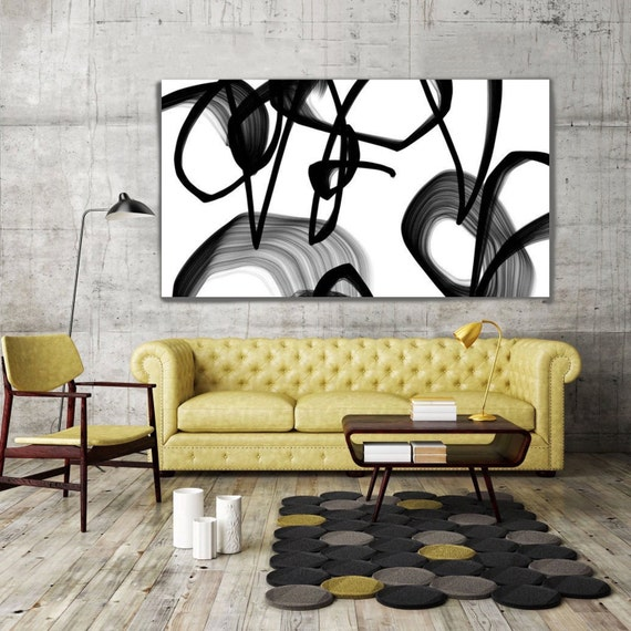 """Cosmic Symphony. Abstract Black and White, Unique Abstract Wall Decor, Large Contemporary Canvas Art Print up to 72"""" by Irena Orlov"""