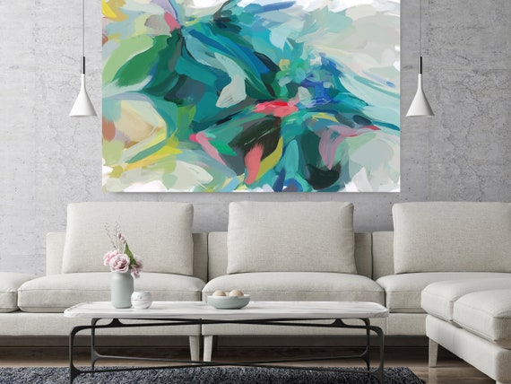 """Good Dreams, Green Blue Abstract painting Original Acrylic Abstract Art on Canvas, Fine Art Canvas Print Size up to 80"""" by Irena Orlov"""