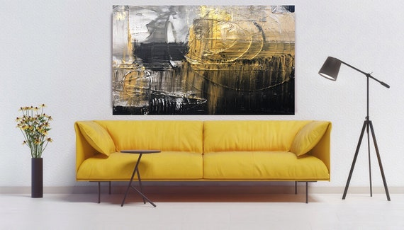 Gold Black Abstract Painting, Abstract Gold Black, Gold Abstract Art on Canvas, Textured Painting Canvas Print, Hand Textured Art