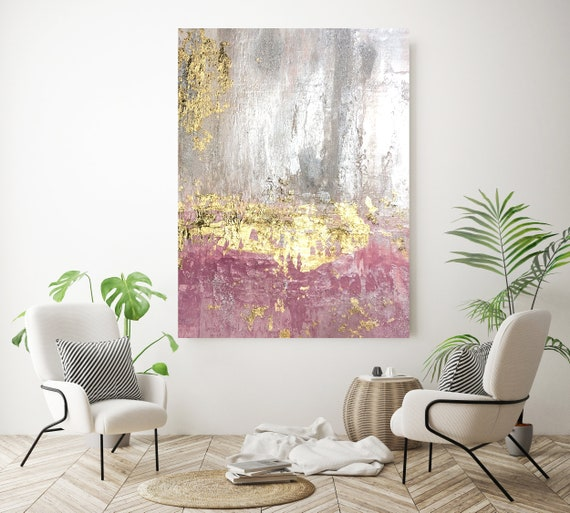 Gold Pink Silver Abstract Painting Gold art abstract painting wall art Extra Large Gold Silver Painting Extra Large Abstract Canvas Print