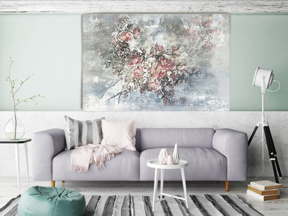 """ORL-8073-1 Softly. Floral Painting, Pink Gray Abstract Art, Large Abstract Colorful Contemporary Canvas Art Print up to 72"""" by Irena Orlov"""