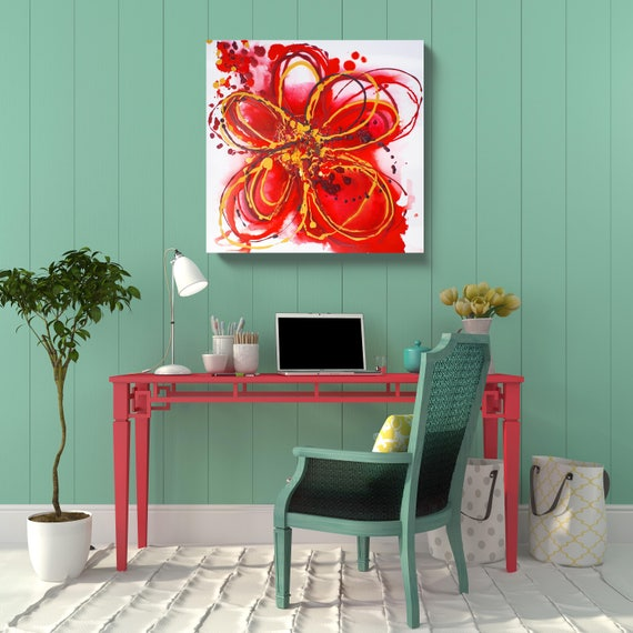STUDIO SALE. Red Abstract.  Red Floral Acrylic Original Painting on Stretched Canvas 24 x 24 x 1.5""
