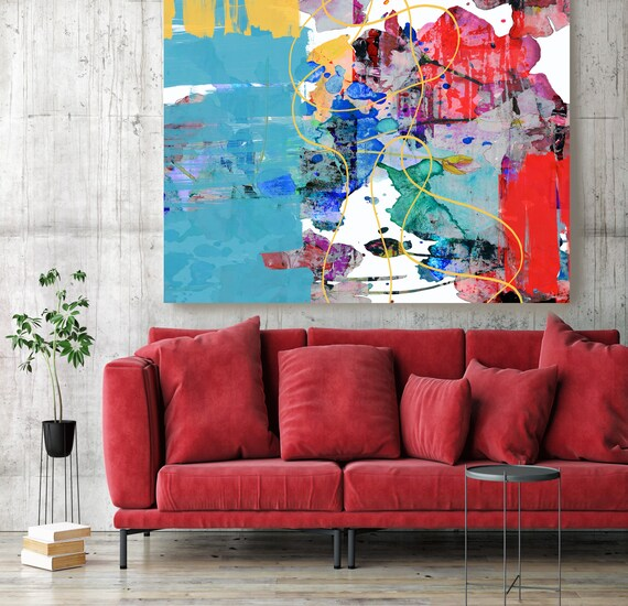 Blue Red Abstract Painting on Canvas, Extra Large Canvas Print, Blue Oversized Textured Art, Art for Interiors, To live and love Painting