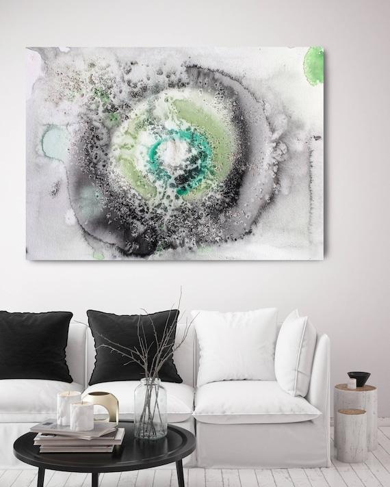 "Coastal Watercolor 1. Contemporary Abstract Green  Black Canvas Art Print up to 72"" by Irena Orlov"