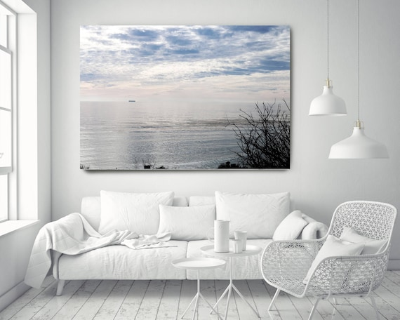 "Silver Ocean 14. Extra Large Water Canvas Art Prints up to 72"", Seascape Blue Pink Water Photography Print by Irena Orlov"