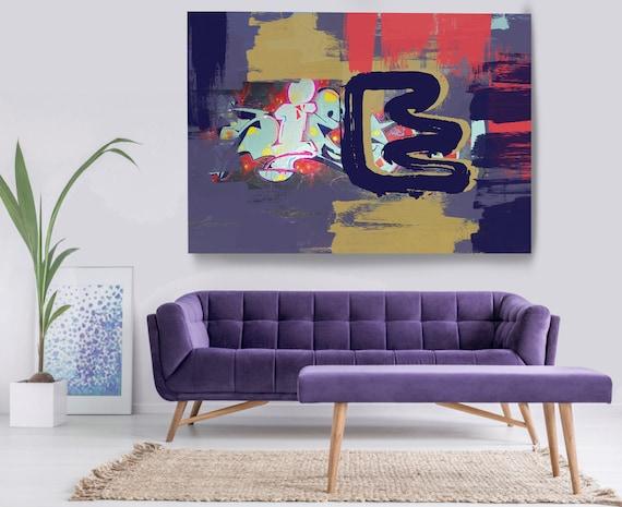 Great Advances, Street Art, Graffiti Wall Art Purple Street Art Painting Print on Canvas, Large Canvas Print, Graffiti Canvas Wall Art