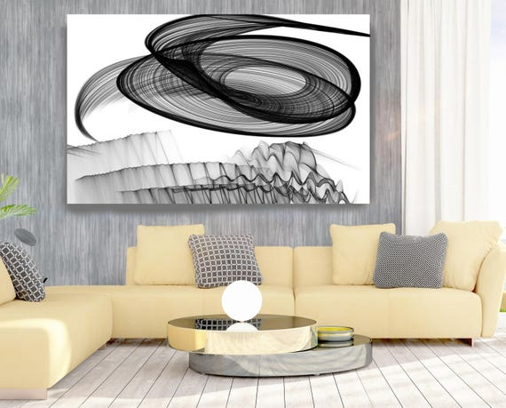 "Abstract Black and White 17-25-07. Contemporary Unique Abstract Wall Decor, Large Contemporary Canvas Art Print up to 72"" by Irena Orlov"