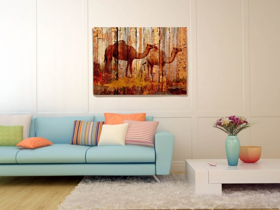 Camels on Wood Plank Canvas Wall Art Print Large Camel Canvas print, large canvas print, kids wall art, wall decor by Irena Orlov, camel art