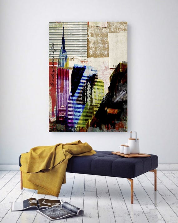 """It's always been, New York. Large Architectural Cityscape Canvas Art Print. Rustic Brown URBAN Canvas Art Print up to 72"""" by Irena Orlov"""