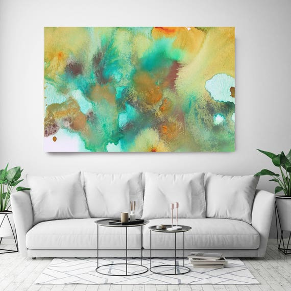 """Coastal Watercolor Abstract 64. Watercolor Abstract Blue Green Yellow Canvas Art Print, Watercolor Painting Print up to 72"""" by Irena Orlov"""