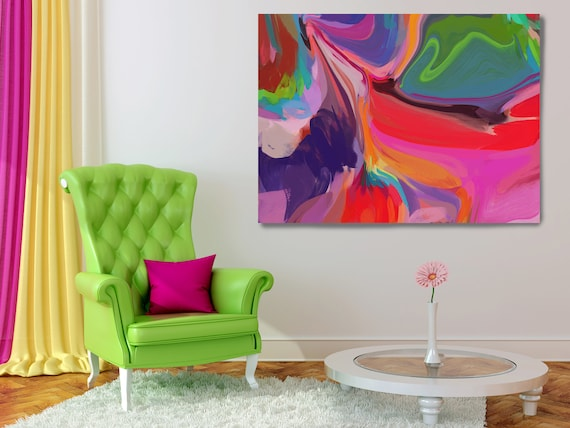 Flow Painting, Vibrant Colorful Painting, Bright Multicolor Abstract Painting, Abstract Boho Painting Boho Decor Art Canvas Print