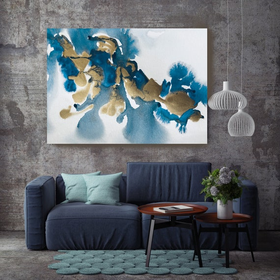 Gold in Blue Teal Watercolor Abstract 7, Contemporary Gold Painting Large Wall Art Abstract Canvas Print Gold Teal Artwork for Home