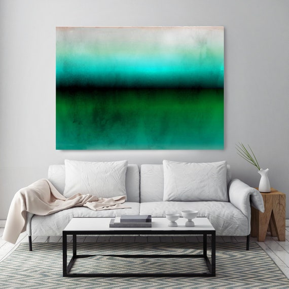 """Abstract Minimalist Rothko Inspired 1-19-2. Abstract Painting Giclee of Original Wall Art, Blue Green Large Canvas Art Print up to 72"""""""