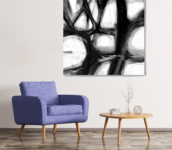 Black And White Abstract, Abstract Canvas Art Print, Black and White Abstract Painting Minimalist Art, Textured Painting on Canvas