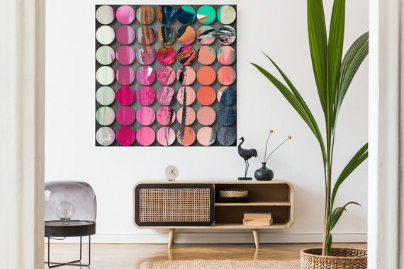 Geometric Abstract Painting, Circles Abstract Art, Pink Circles, Large Canvas Art Print, Visual Experience 7, Abstract Canvas Print