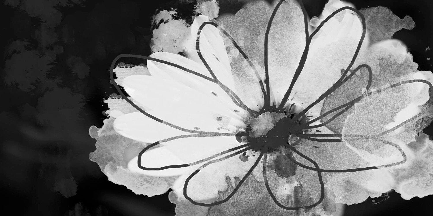 Pretty Flower Floral Painting White Black Abstract Art Large
