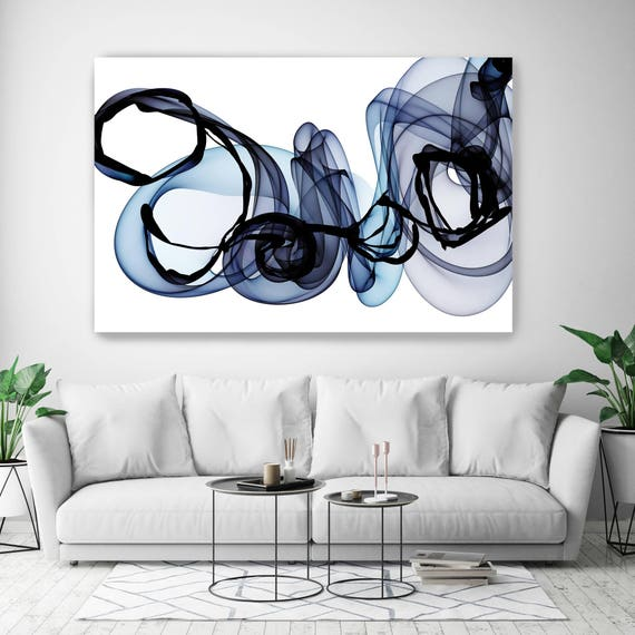 "10287-10-25 BlueTech 2017-04-14, New Media Art, Blue Abstract Canvas Print, Extra Large Abstract Canvas Art Print up to 90"" by Irena Orlov"