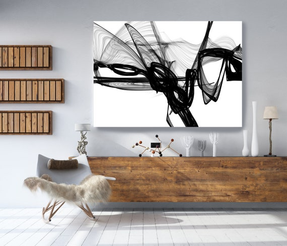"Abstract Black White New Media Painting on Canvas Everything and More Minimalist 68 x 46"", Minimalist Large Abstract Painting, INVEST IN ART"