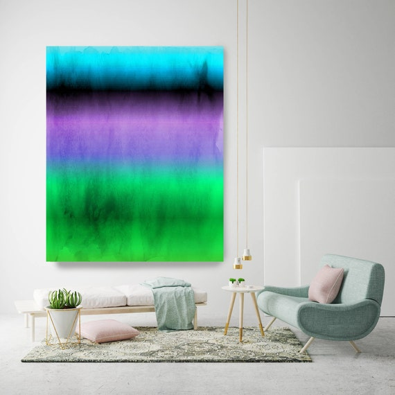 Abstract Minimalist Rothko Inspired 01-59, Green Blue Purple Abstract Canvas, Large Abstract Colorful Canvas Art Print by Irena Orlov