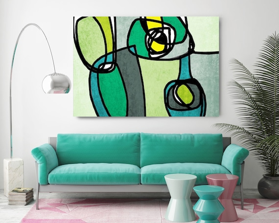 "Vibrant Colorful Abstract-72. Mid-Century Modern Green Blue Canvas Art Print, Mid Century Modern Canvas Art Print up to 72"" by Irena Orlov"