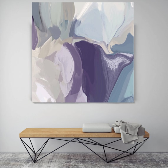 "Mixed Feelings. Original Oil Painting on Canvas, Contemporary Abstract Purple, Teal, Gray Trend Color Oil Painting up to 50"" by Irena Orlov"