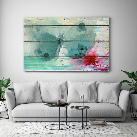 "Blue on Blue. Blue Butterfly on Wood Rustic Canvas Art Print, Teal Watercolor Butterfly Canvas Art Print up to 72"" by Irena Orlov"