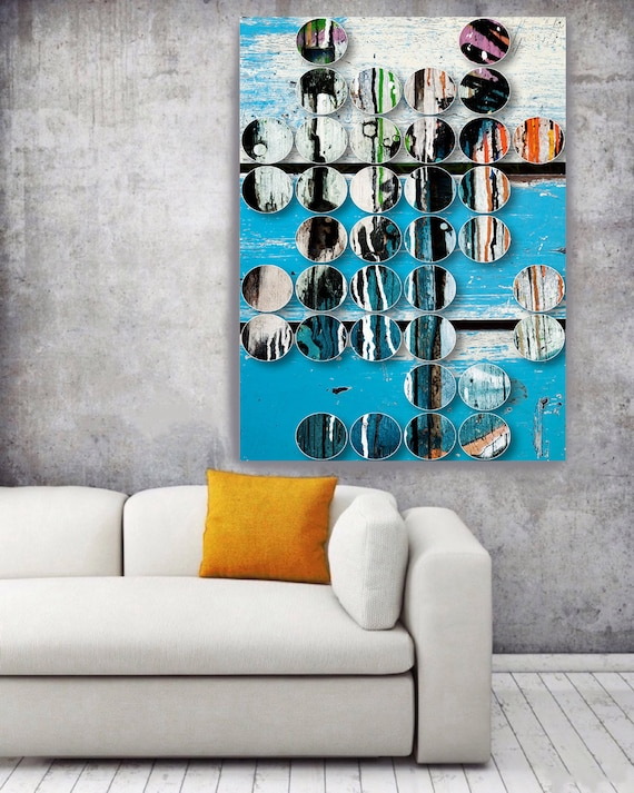 """ORL-9306 Blue Shapes. Large Abstract Geometrical Canvas Art, Blue Industrial Abstract Wall Art Print up to 72"""""""