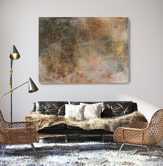 Bronze Copper Brown Abstract Painting Art Abstract Painting Extra Large Rustic Painting Extra Large Abstract Canvas Print Copper Textured