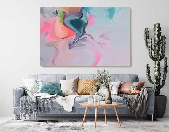 Art Abstract Painting, Blue Pink Gray Abstract Painting, Contemporary Art, Hand Painted, Extra Large Canvas Print, Abstract Colorful Flows
