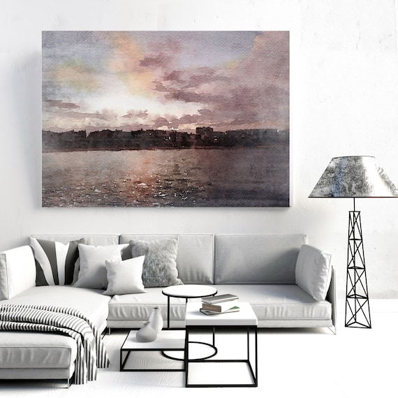 """Red Sky at Night.. Huge Rustic Seascape Painting Canvas Art Print, Seascape Large Brown Purple Canvas Art Print up to 80"""" by Irena Orlov"""