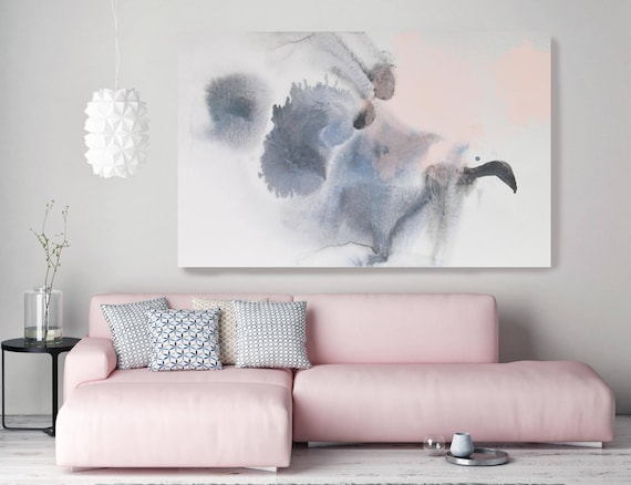 "Dreamlight. Contemporary Abstract Blue Gray Pink Watercolor Canvas Art Print up to 72"", Extra Large Abstract Canvas Art Print by Irena Orlov"