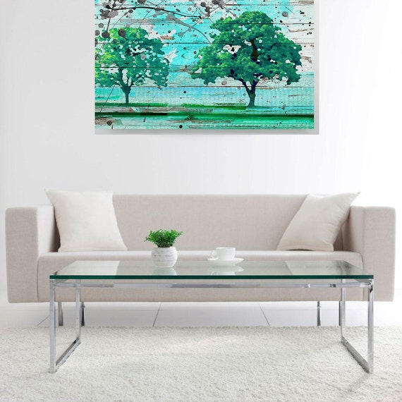 """Solitude. Huge Rustic Landscape Painting Canvas Art Print, Extra Large Blue Green Canvas Art Print up to 80"""" by Irena Orlov"""