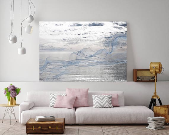 "ORL-11587-7 Silver ocean breeze 3. Extra Large Contemporary Blue Canvas Art Print, Seascape Abstract Canvas Art up to 80""  by Irena Orlov"
