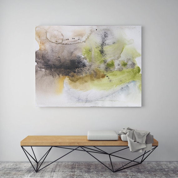 "ORL-7973 A New Day. Watercolor Abstract, Modern Wall Decor, Large Abstract Colorful Contemporary Canvas Art Print up to 72"" by Irena Orlov"
