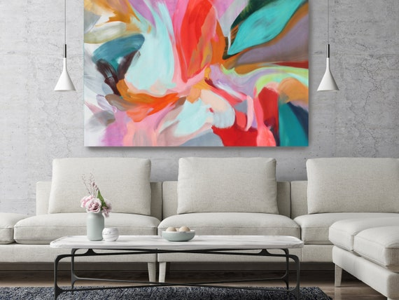 "Integrity of Chaos, Red Turquoise Abstract painting Original Acrylic Abstract Art on Canvas, Fine Art Canvas Print up to 80"" by Irena Orlov"