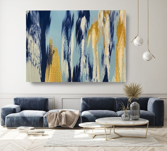 Gold Water Reflection 4, Turquoise Gold Blue Abstract Painting Modern Art Abstract Painting Extra Large Painting Abstract Canvas Print